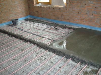 Укладка вторичной бетонной стяжки