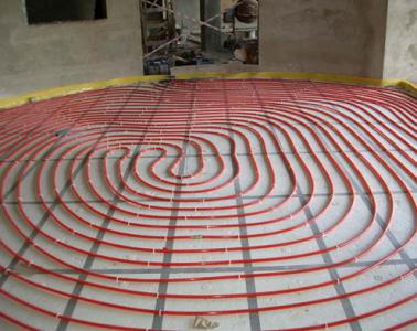 Укладка  теплого пола спиралью